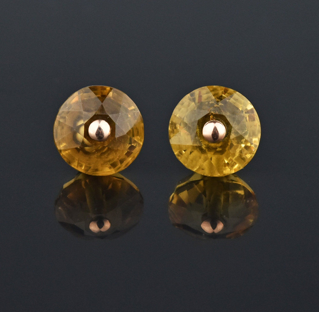 Antique Scottish Citrine Gold Stud Earrings - Boylerpf