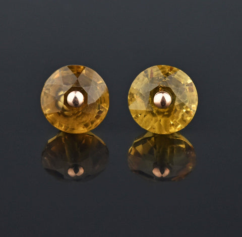 Antique Scottish Citrine Gold Stud Earrings