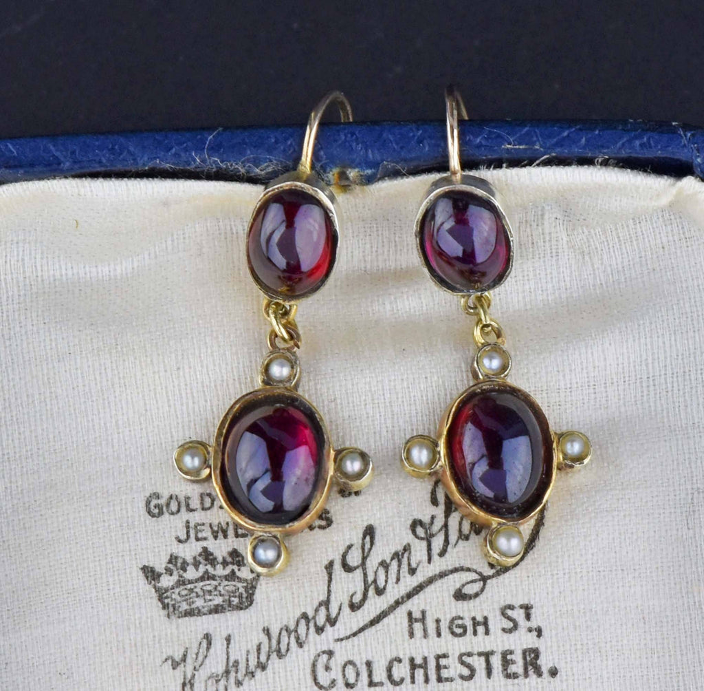 Antique Almandine Garnet Seed Pearl Earrings - HOLD - Boylerpf