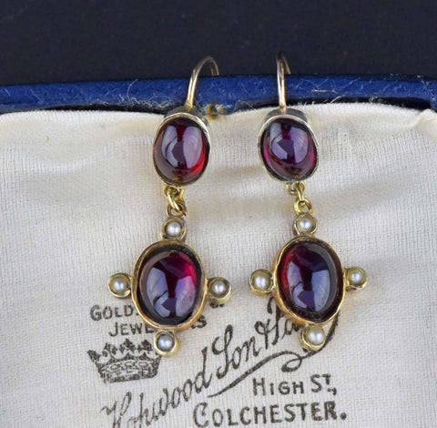 Antique Almandine Garnet Seed Pearl Earrings - HOLD