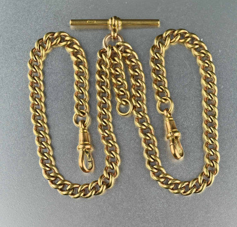 14K Rolled Gold Antique Watch Chain Necklace 1800s