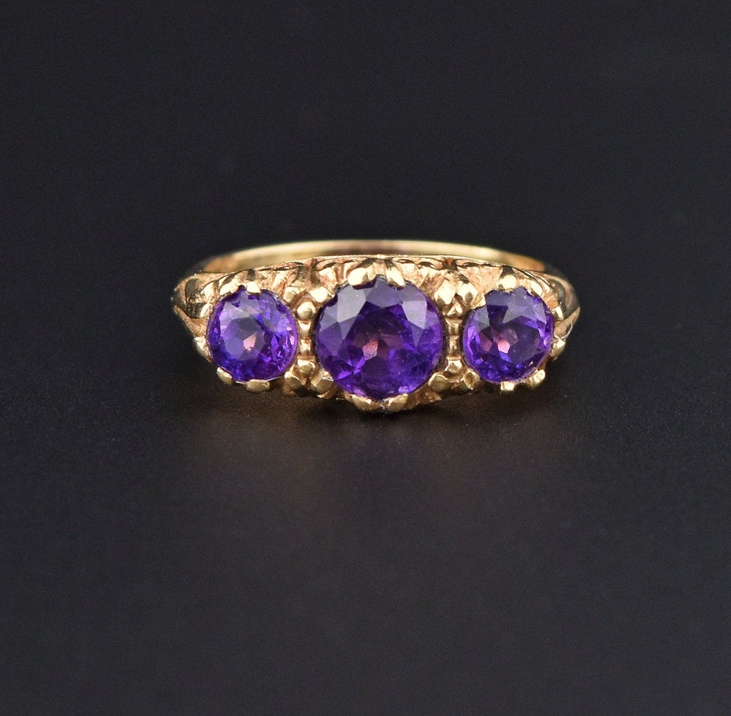 Amethyst Three Row Gold Half Hoop Eternity Ring - Boylerpf