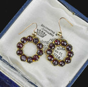 Antique Solid Gold Garnet Hoop Earrings