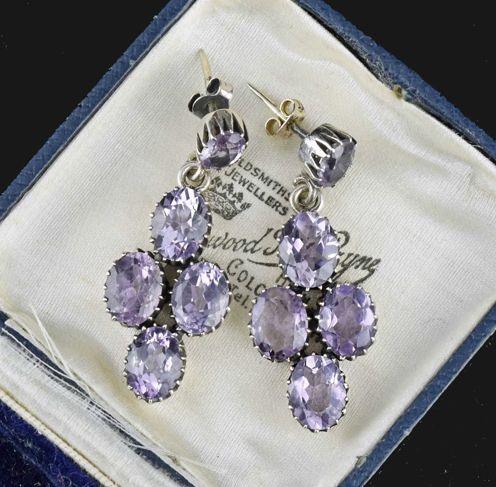 Antique Silver Amethyst Riviere Earrings - Boylerpf