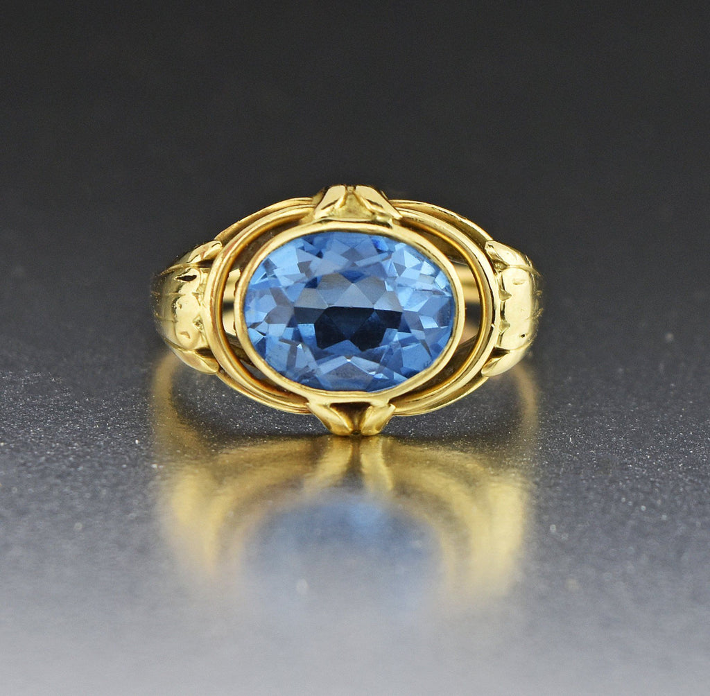 5th Payment 18K Gold Blue Spinel East/West Ring - Boylerpf
