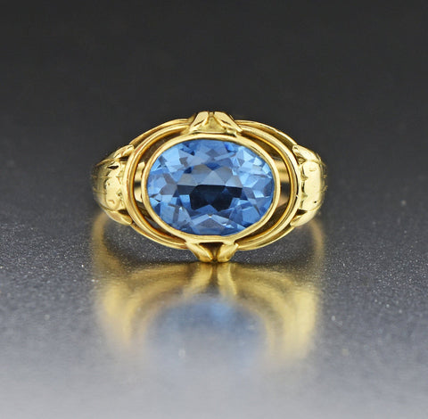4th Payment 18K Gold Blue Spinel East-West Ring