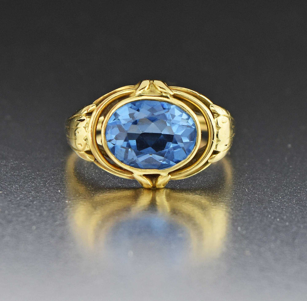 Vintage 18K Gold Blue Spinel East-West Ring - Boylerpf