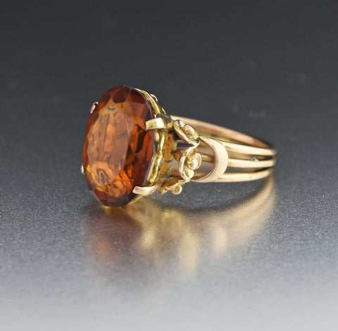 Heavy 18K Gold Vintage Citrine Ring