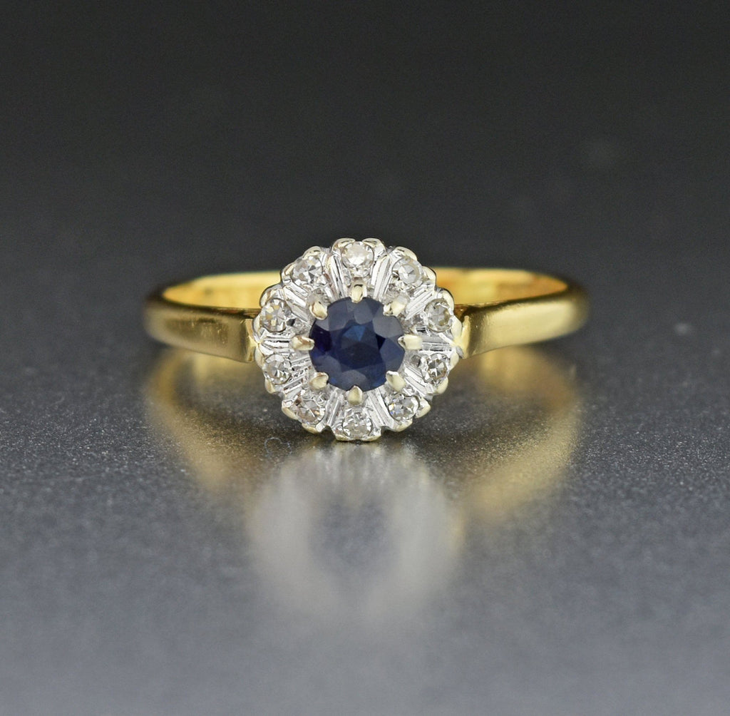 18K Gold Vintage Diamond Halo Sapphire Engagement Ring - Boylerpf