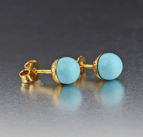 18K Gold Vintage Turquoise Stud Earrings