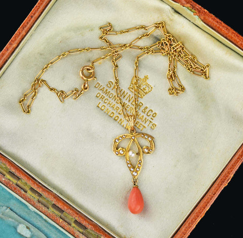 Vintage Edwardian Coral & Pearl Necklace 1900s
