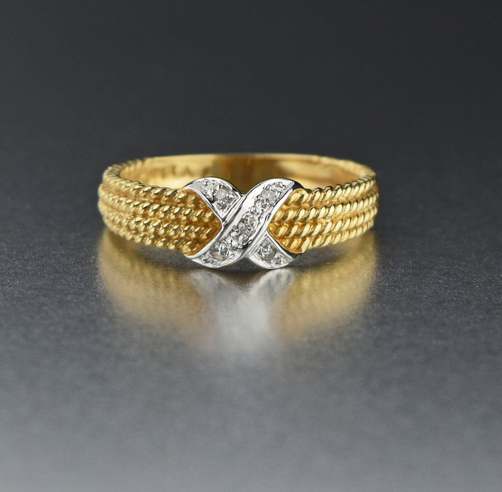 "14K Gold Vintage ""X"" Diamond Wedding Band Ring - Boylerpf"
