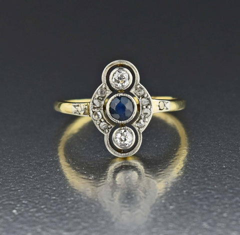 14K Gold Diamond Sapphire Engagement Ring 1900s