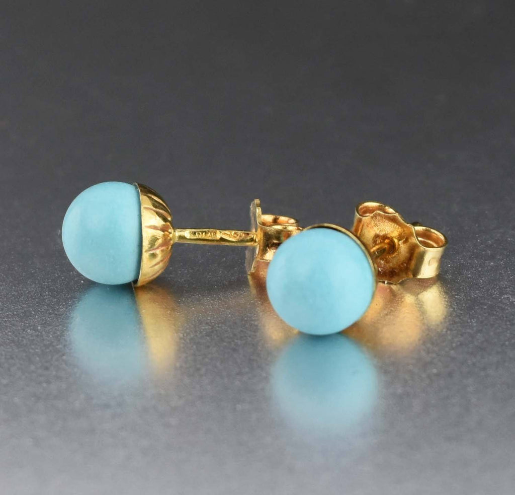 18K Gold Vintage Turquoise Stud Earrings - Boylerpf