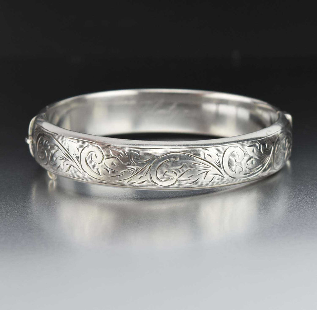 Ornate Engraved Scroll Leaf Vintage Bangle Bracelet - Boylerpf