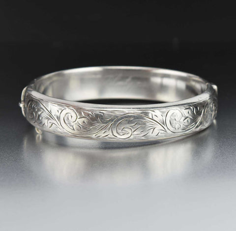 Ornate Engraved Scroll Leaf Vintage Bangle Bracelet