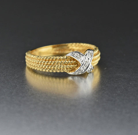 "14K Gold Vintage ""X"" Diamond Wedding Band Ring"