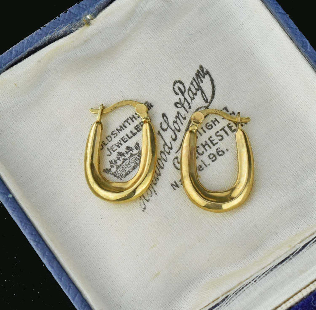 English Embossed Gold Vintage Half Hoop Earrings - Boylerpf