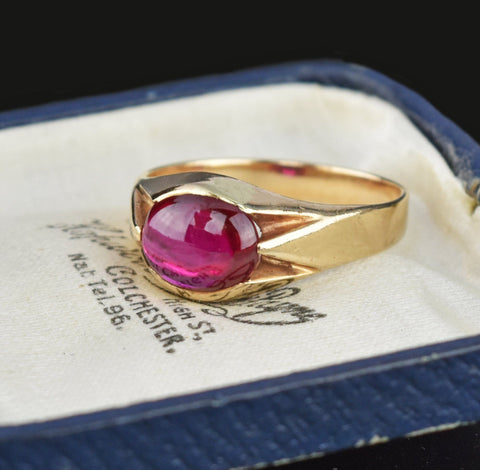 7th Payment Mens Art Deco Gold Synthetic Ruby Signet Ring Sz 10.25