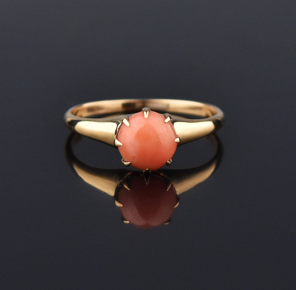 14K Gold Coral Solitaire Victorian Antique Ring - Boylerpf