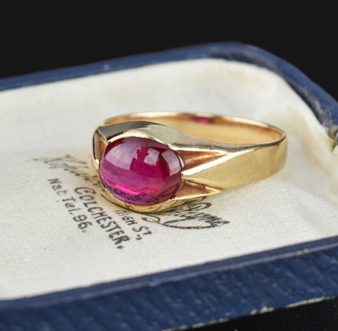 DEPOSIT Mens Art Deco Gold Synthetic Ruby Signet Ring Sz 10.25