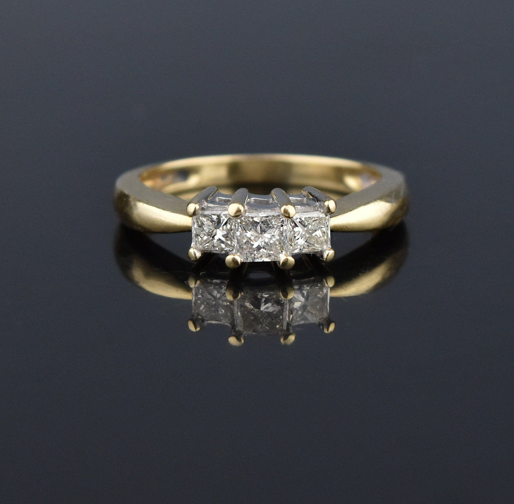14K Gold Princes Cut Diamond .65 CTW Trilogy Ring - Boylerpf