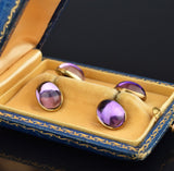 Antique 14K Gold 1920s Amethyst Cufflinks, Original Case - Boylerpf