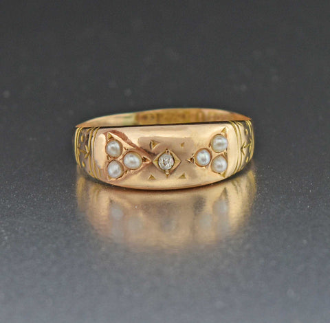 Victorian Antique 15K Gold Diamond Pearl Ring