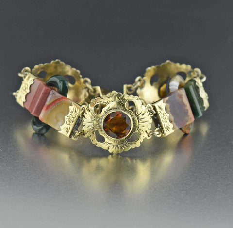 Victorian Scottish Agate Citrine Bracelet 1800s