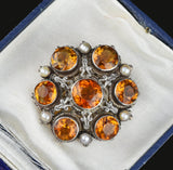Antique Austro Hungarian Citrine Brooch, C 1800s - Boylerpf