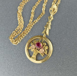 14K Gold Ruby Lavalier Pendant Necklace - Boylerpf