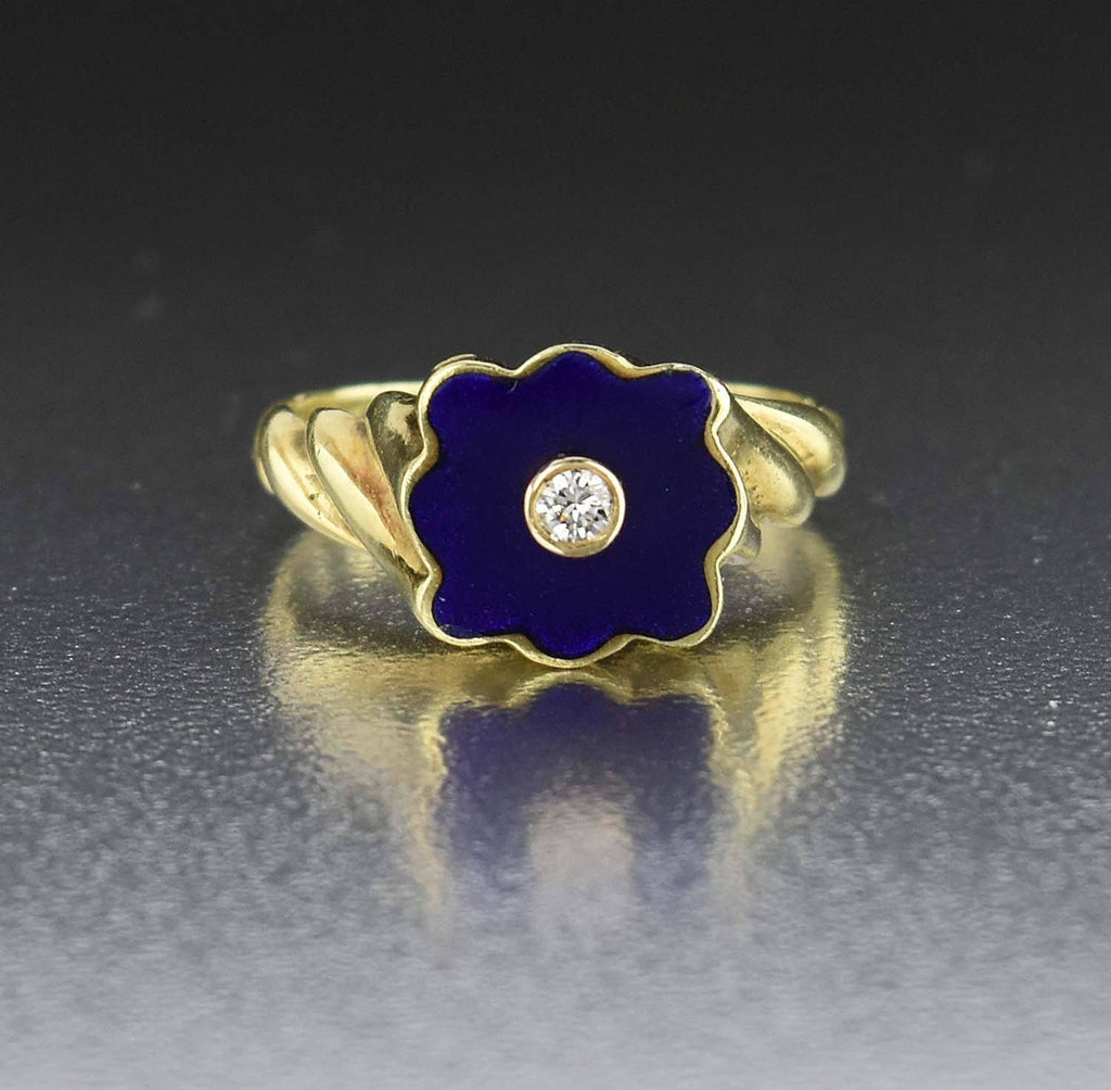 18K Gold Victorian Diamond Blue Enamel Ring 1900s - Boylerpf