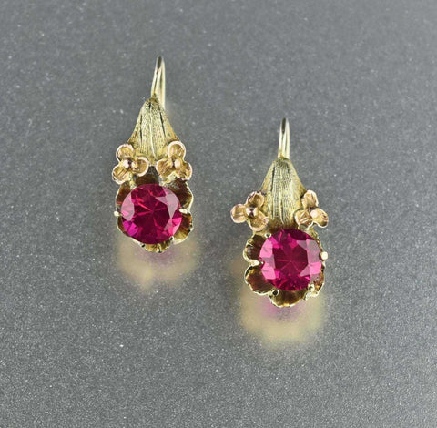 Antique 14K Gold Flower Ruby Earrings