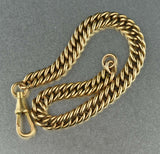 12K Antique Rosy Gold Double Curb Chain Bracelet - Boylerpf