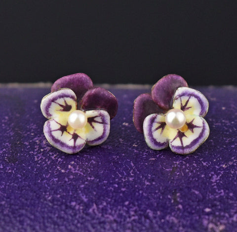 14K Gold Pearl Enamel Pansy Stud Earrings