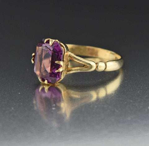 Yellow Gold Amethyst Solitaire Statement Ring 1930s