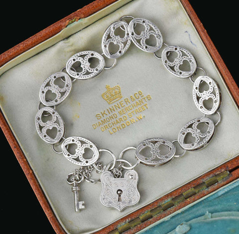Antique Engraved Sterling Silver Buckle Bracelet