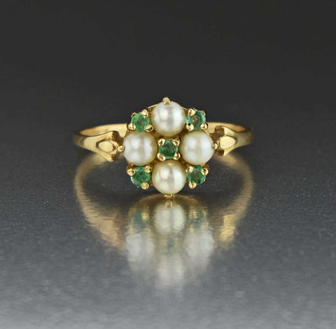 Antique Navette Diamond Emerald Ring 1900s