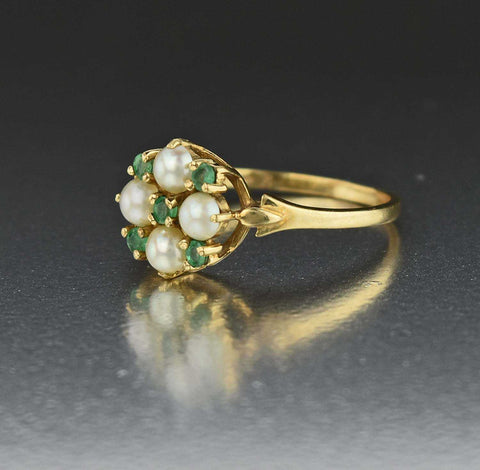 Gold Pearl Emerald Flower Cluster Ring