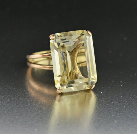 14K Gold Vintage Emerald Cut Citrine Ring