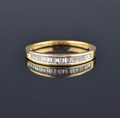 Gold Half Hoop Diamond Eternity Band Ring