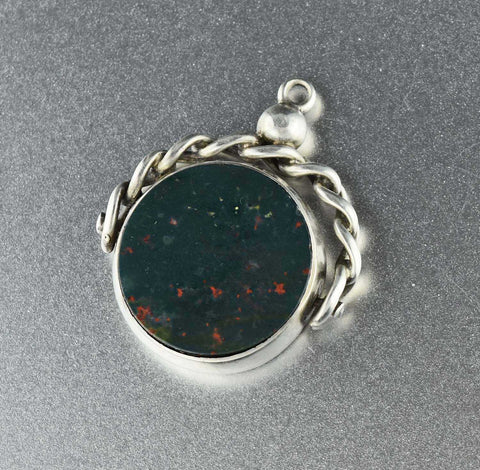 DEPOSIT Antique Bloodstone Spinner Watch Fob Pendant