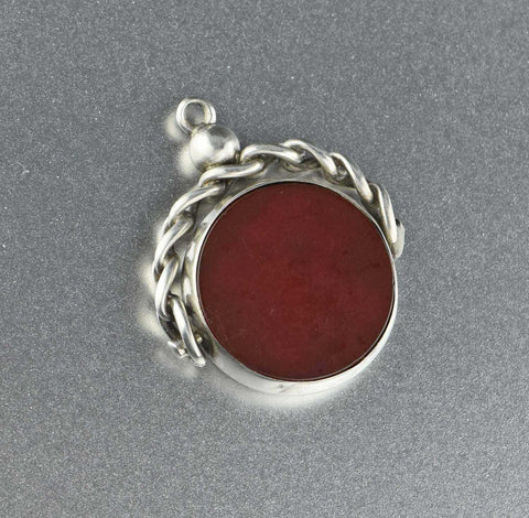 Antique Bloodstone Spinner Watch Fob Pendant