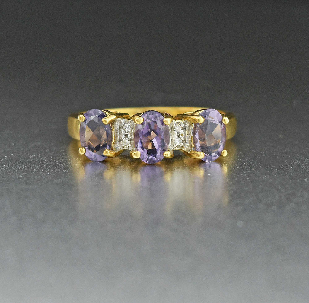 Gold Diamond & Amethyst Vintage Engagement Ring - Boylerpf