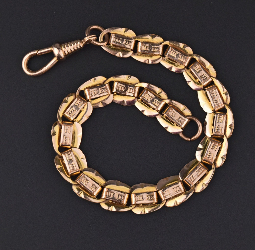 Edwardian Rose Gold Double Sided Watch Chain Bracelet - Boylerpf