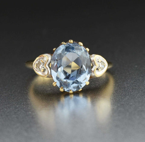 Vintage 14K Gold Diamond Heart Blue Spinel Ring