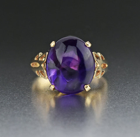 Amethyst Cabochon 14K Gold Solitaire Ring