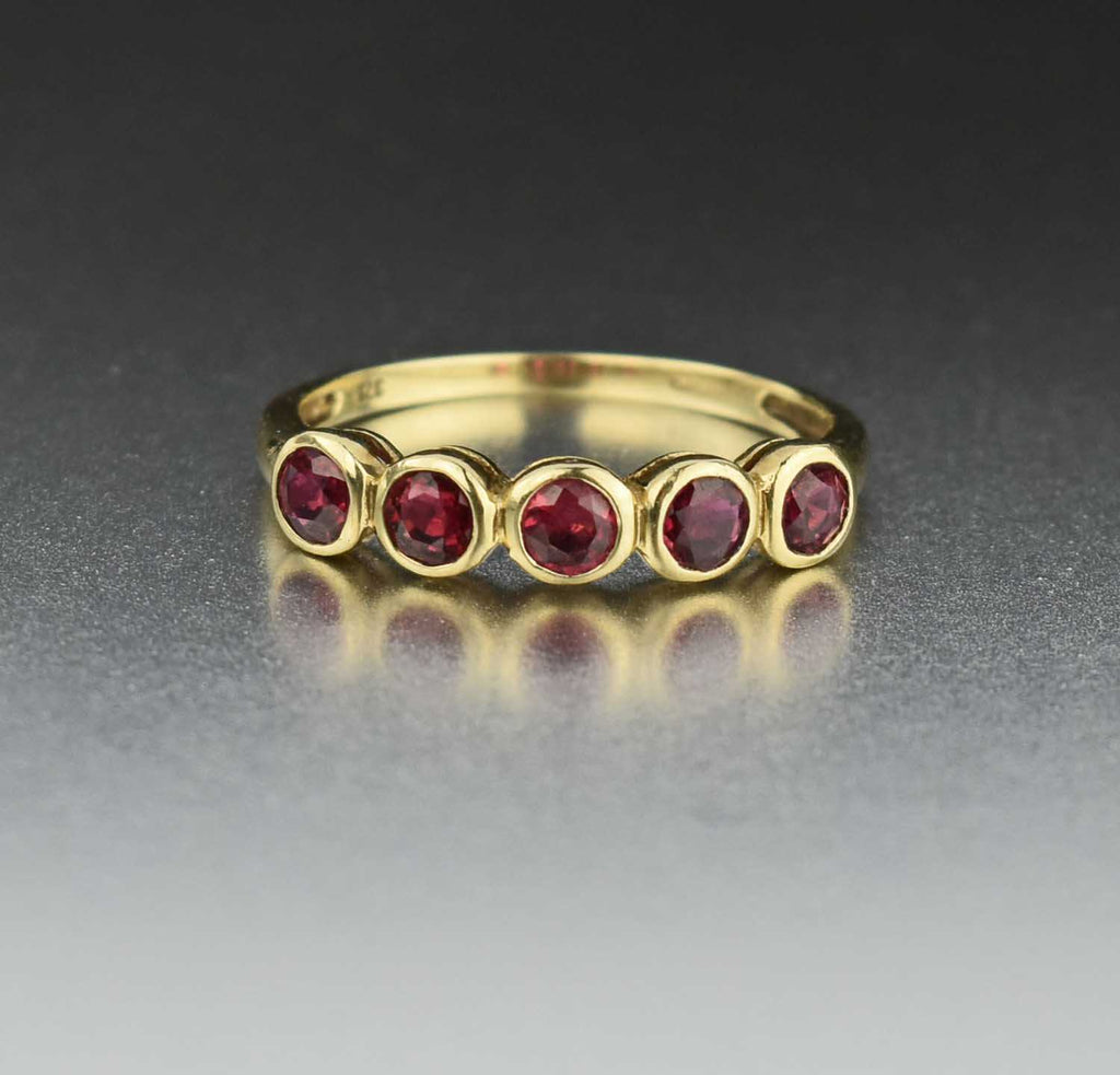 Vintage English Natural Ruby Five Stone Ring