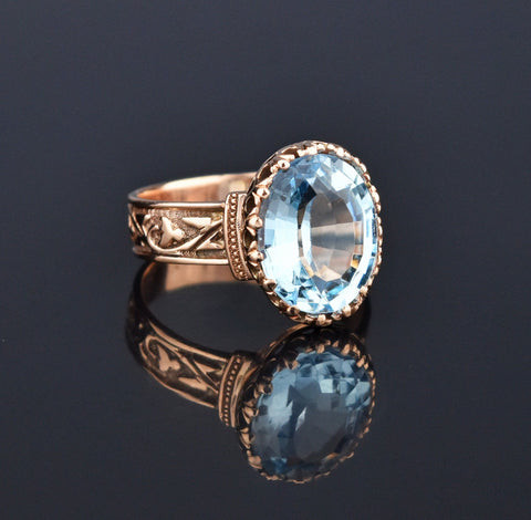 Edwardian Blue Topaz Wide Embossed Band Ring