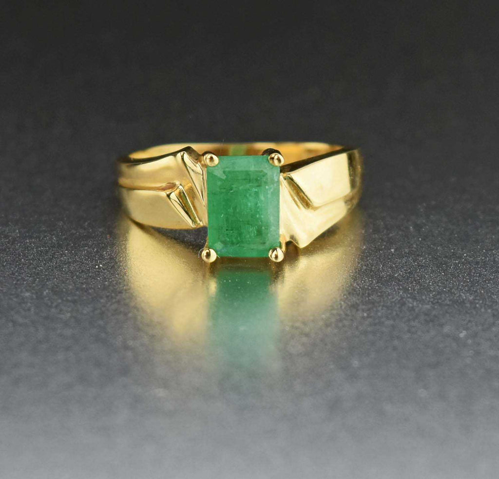 Retro 14K Gold Emerald Ring - Boylerpf